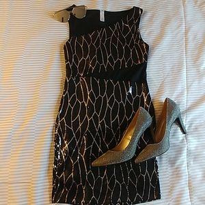 Sequin dress black and silver Medium